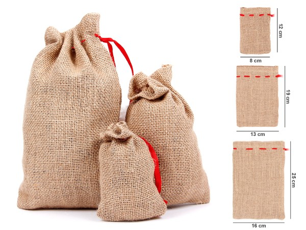 sac en toile de jute avec ruban rouge pas cher bonnet de noel partir de 0 25 euro. Black Bedroom Furniture Sets. Home Design Ideas